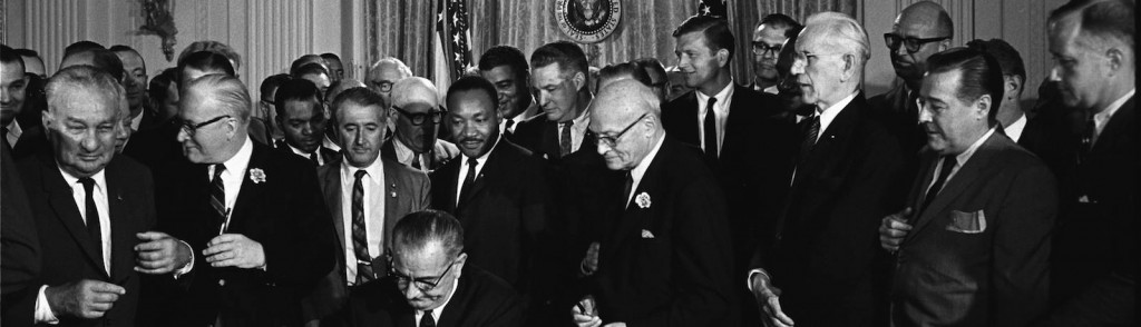 LBJ signing the Civil Rights Act